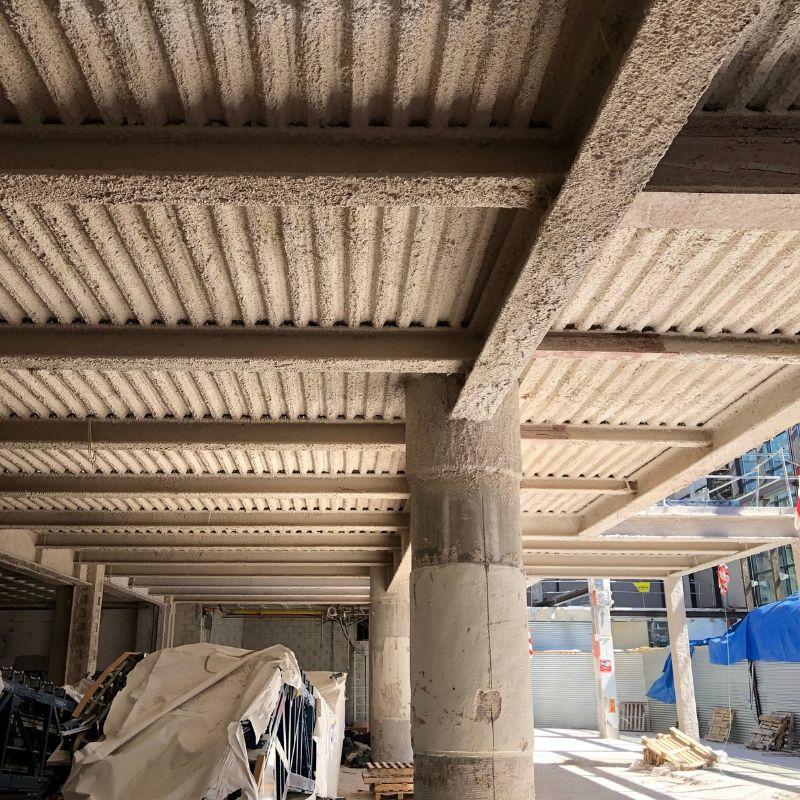 Mortero proyectado ignífugo - Centro comercial Larios